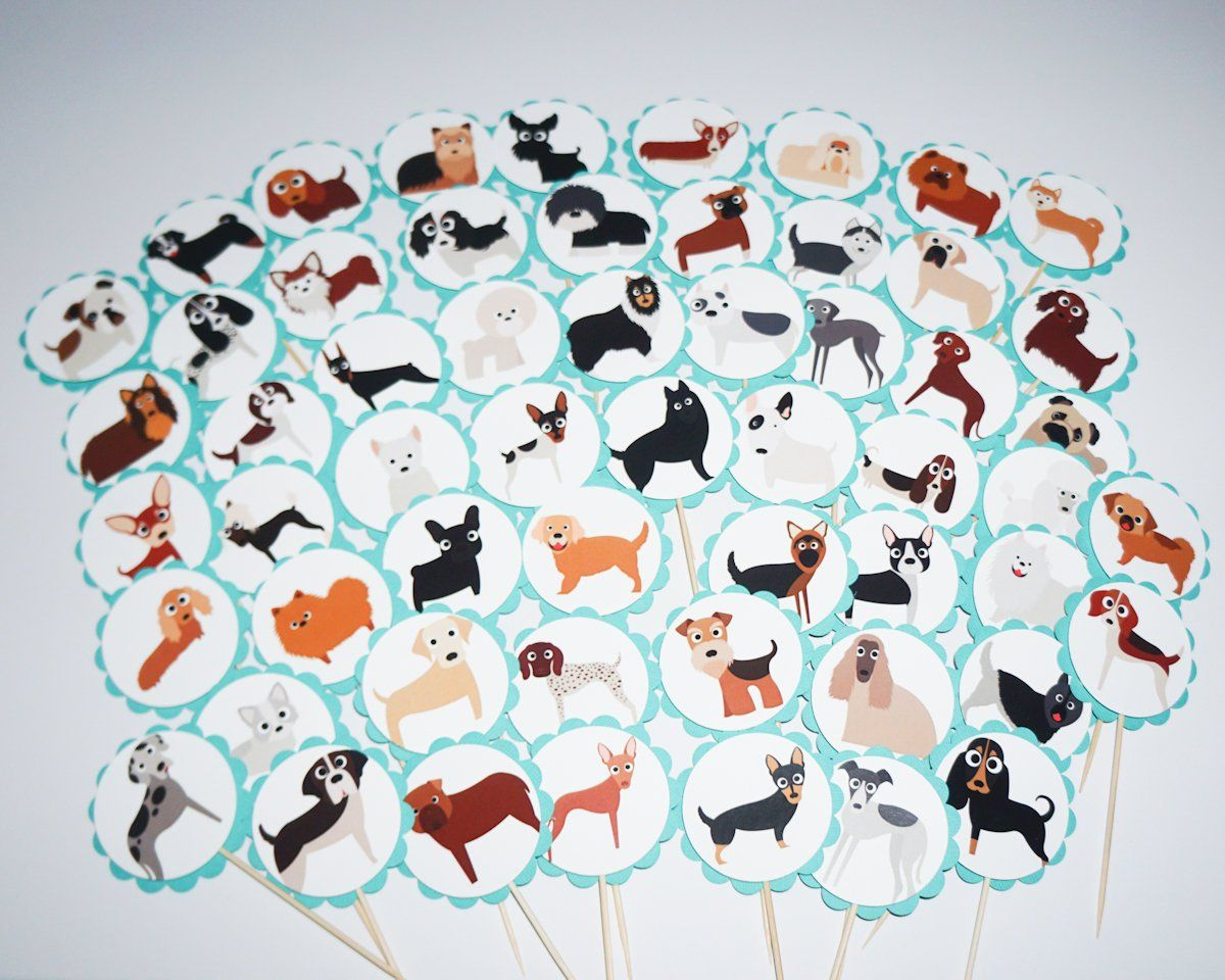 Dog party cupcake toppers cupcake flags cupcake