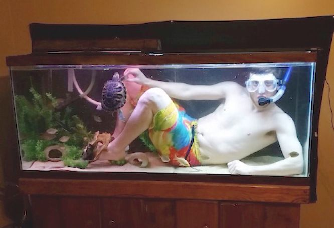 Image result for guy in fish tank