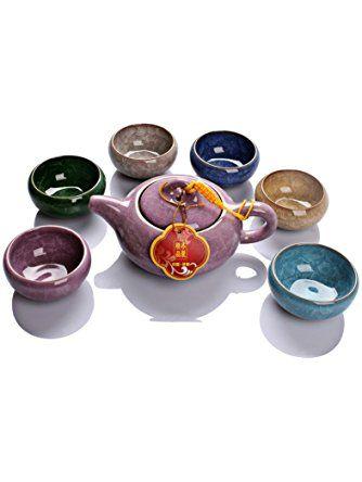 Dehua Porcelain Ice Crack Glaze Ceramic Kung Fu Tea Set Tea Service- Teapot and Six Colors Tea Cups (purple) ❤ Dehua porcelain