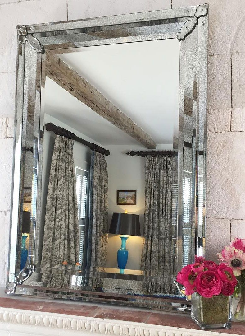 Venetian Gl Mirror With Antiqued Frame And Beveled