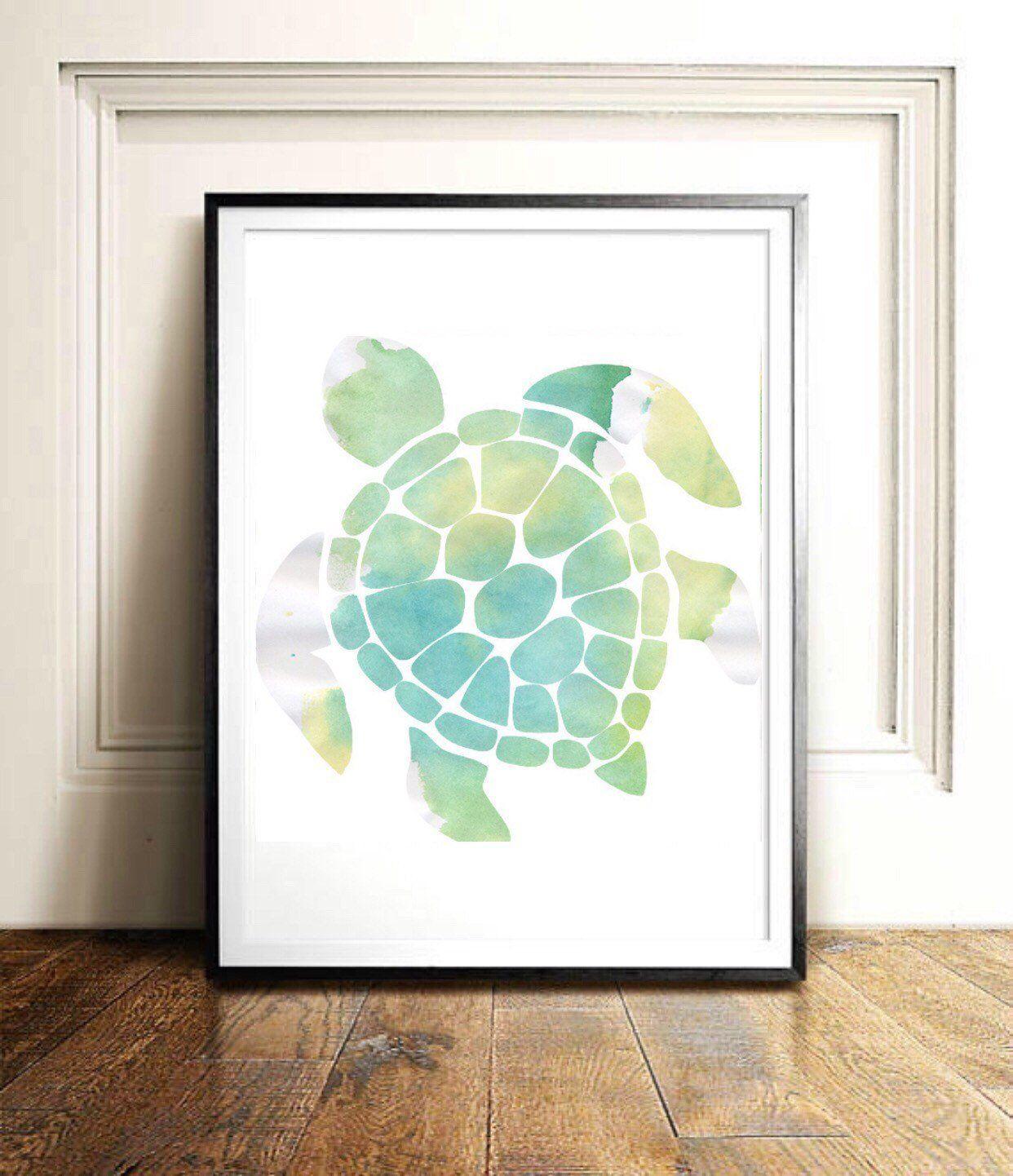 Magnificent Watercolor Turtle Beach Art Green Typographic Print Quote Download Free Architecture Designs Scobabritishbridgeorg