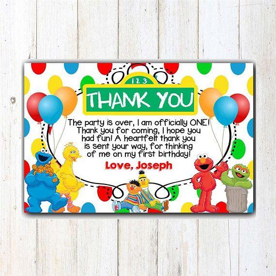 Sesame Street Thank You Card Sesame Street Birthday Thank You Card