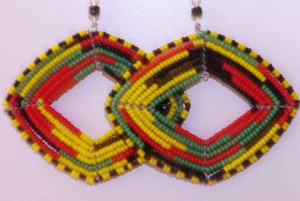 "African Massai Hoop Earrings  Diamond shaped 2.5"" african beaded massai hoop earrings. Made in Kenya."