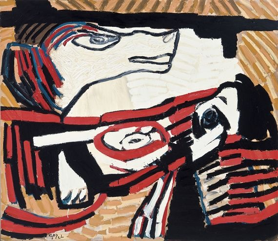 Artwork by Karel Appel, The wolf (X80-072), Made of Oil on canvas