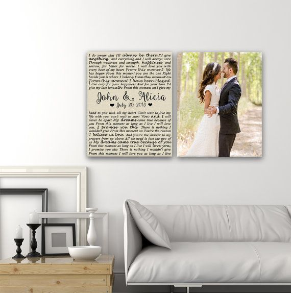 Wedding Vows Canvas Print Art Set Of 2 Same Size Wedding Picture Dates On Canvas Custom Canvas Print Wedding Vows Canvas Wedding Vow Art Custom Canvas Prints
