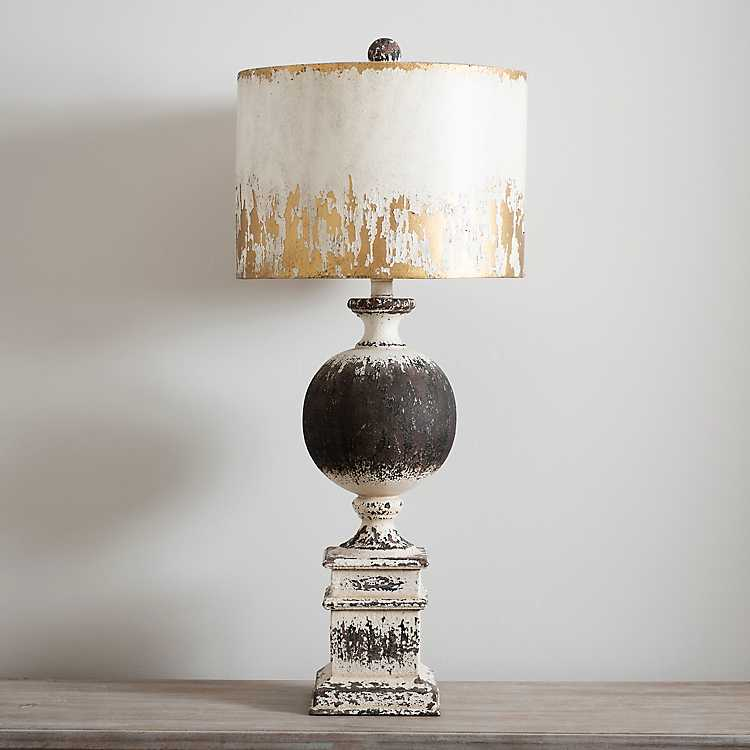 Distressed Round Black Metal Table Lamp From Kirkland S Metal Table Lamps Farmhouse Table Lamps Black Table Lamps
