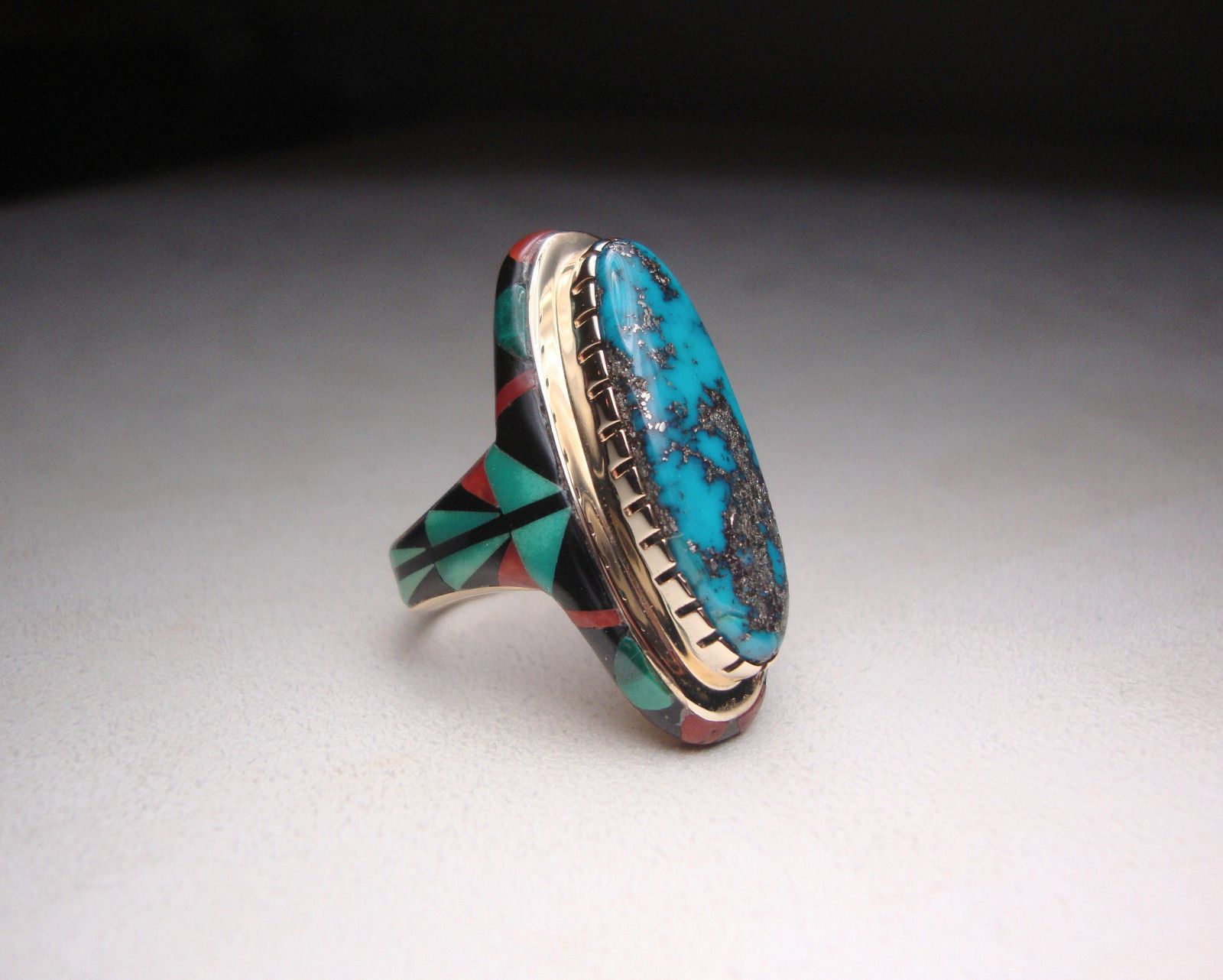 14K Gold Ervin Hoskie Diné Navajo Intarsia Inlay Turquoise Ring ...