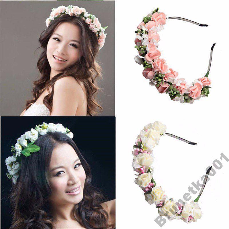 Opaska Ozdoba Do Wlosow Kwiaty Roze Slub Biala 6388713803 Oficjalne Archiwum Allegro Bridal Hair Bands Party Hair Accessories Floral Hair Wreath
