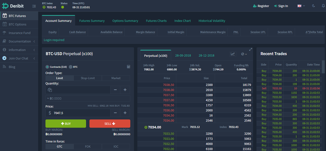 A Bitcoin futures and options exchange called Deribit has