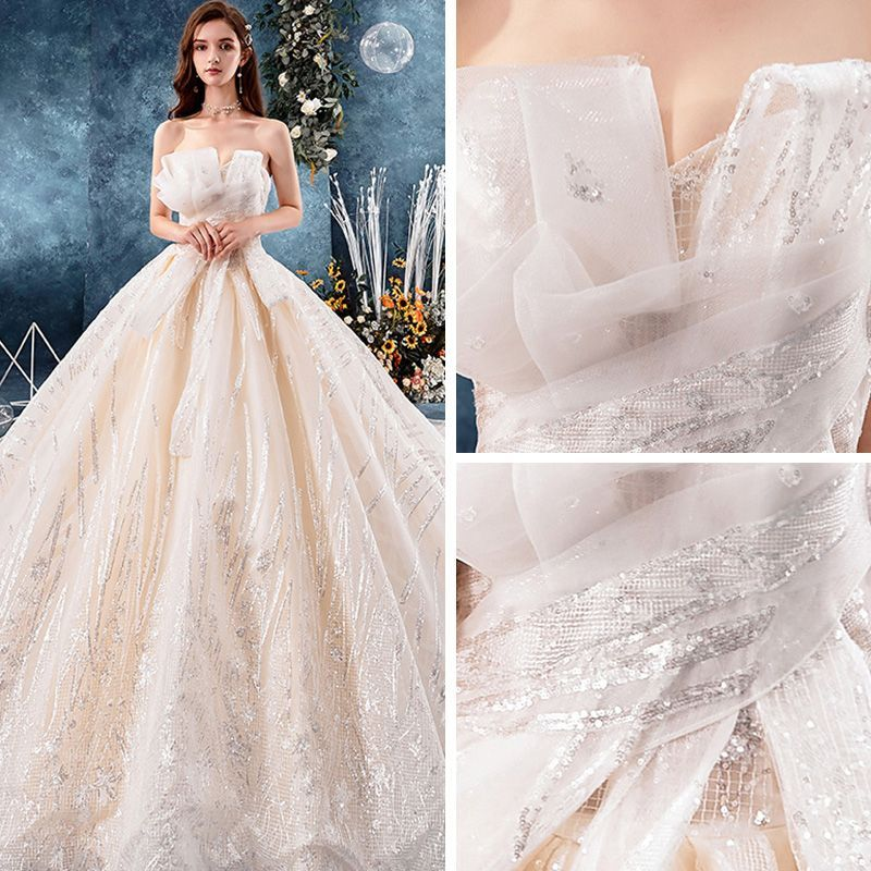 Bling bling champagne wedding dresses 2019 ball gown