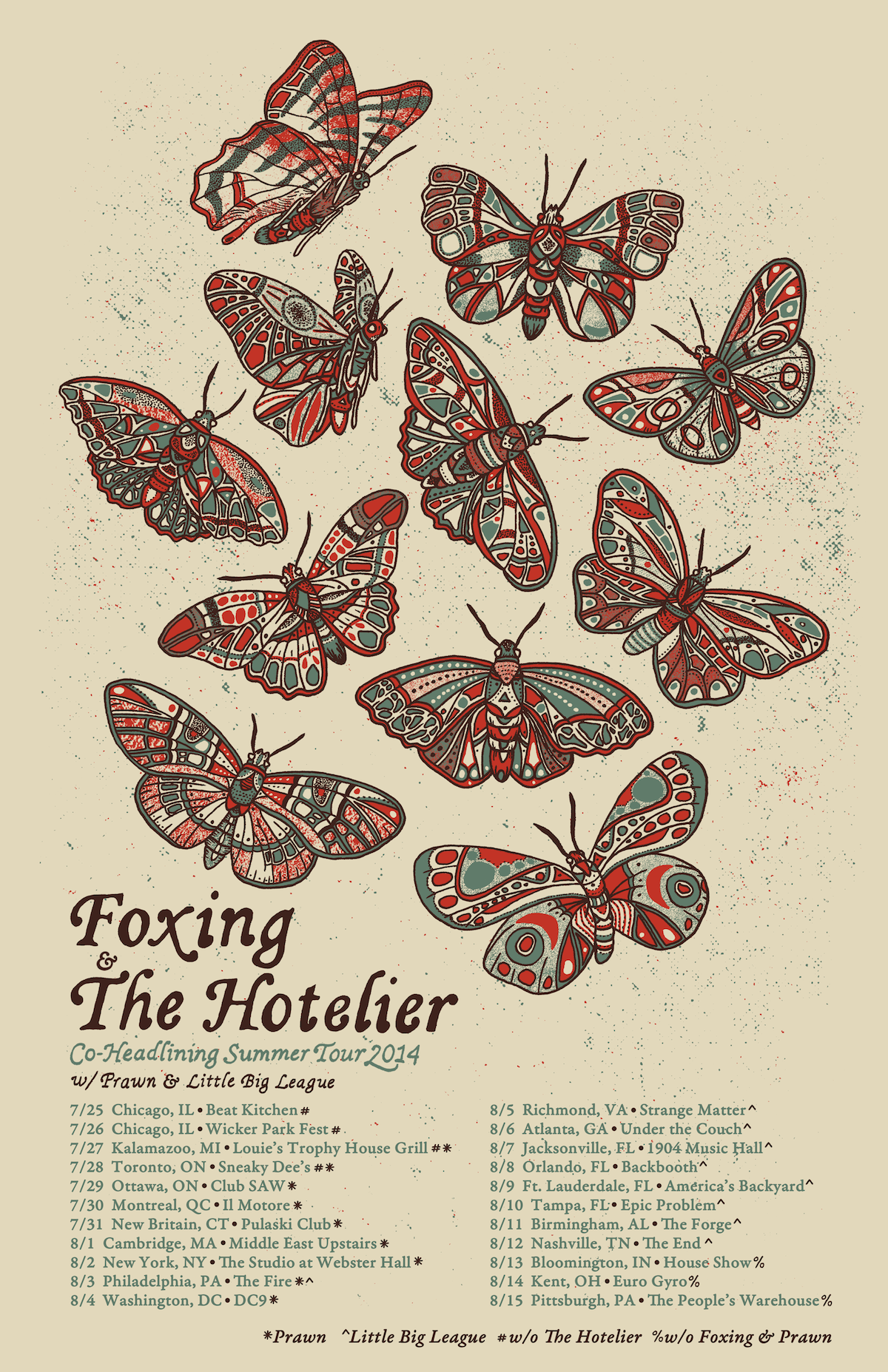 3 color poster designs - Poster Design For Foxing And The Hoteliers 2014 Summer Tour 3 Color Hand
