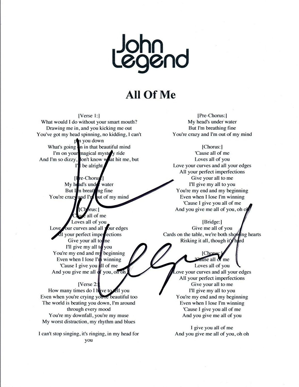 John Legend Signed Autographed ALL OF ME Lyric Sheet COA
