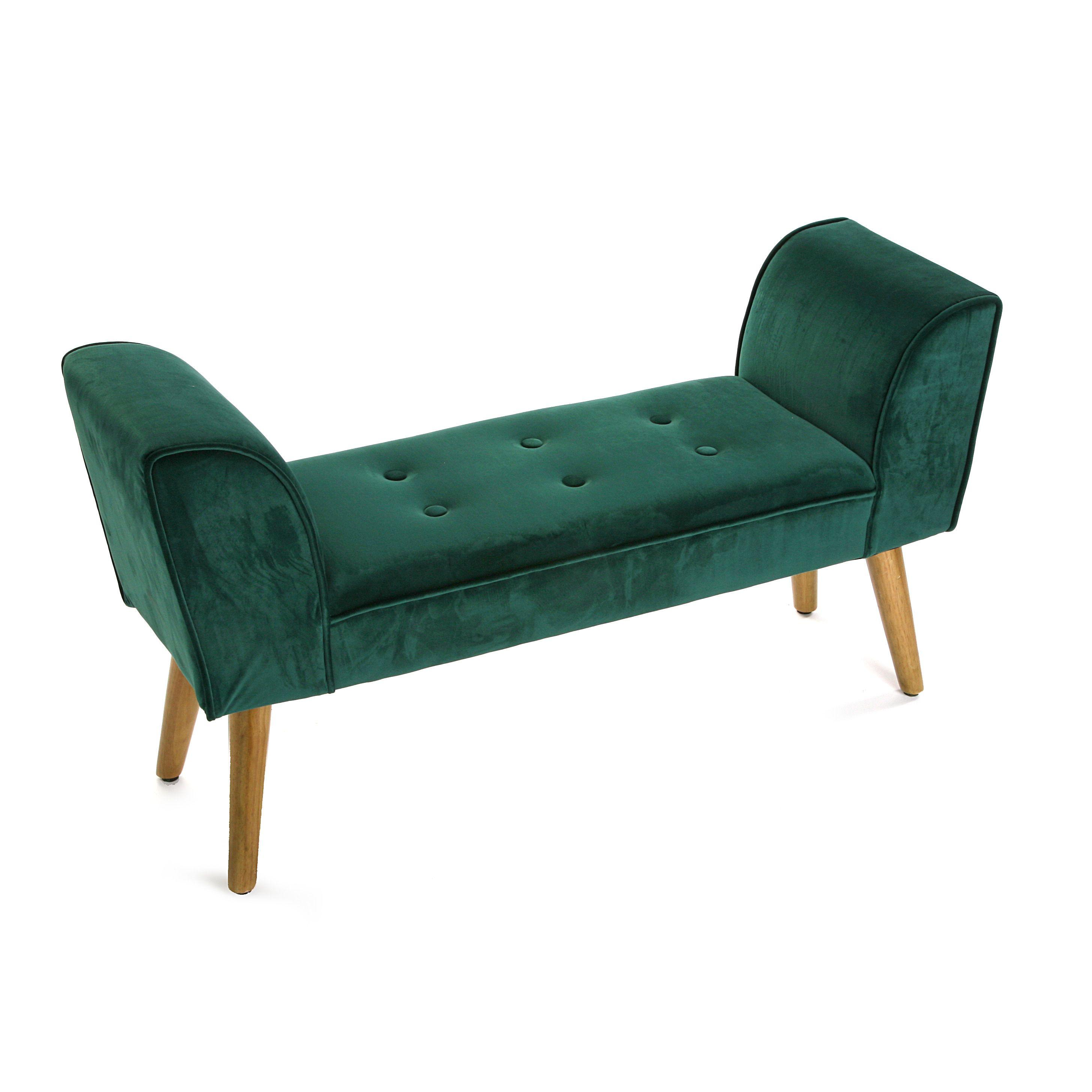 Pie de cama terciopelo verde esmeralda con patas de madera natural ...