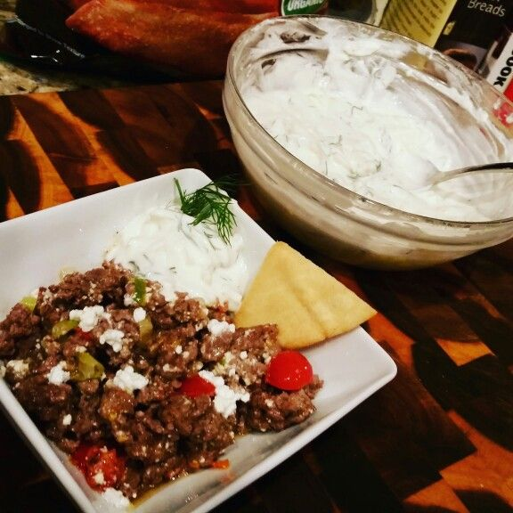 Greek beef dip with pita chips and tzatziki