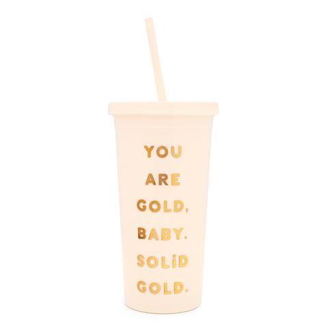 Sip Sip Tumbler With Straw You Are Gold Peralatan Makan Makanan