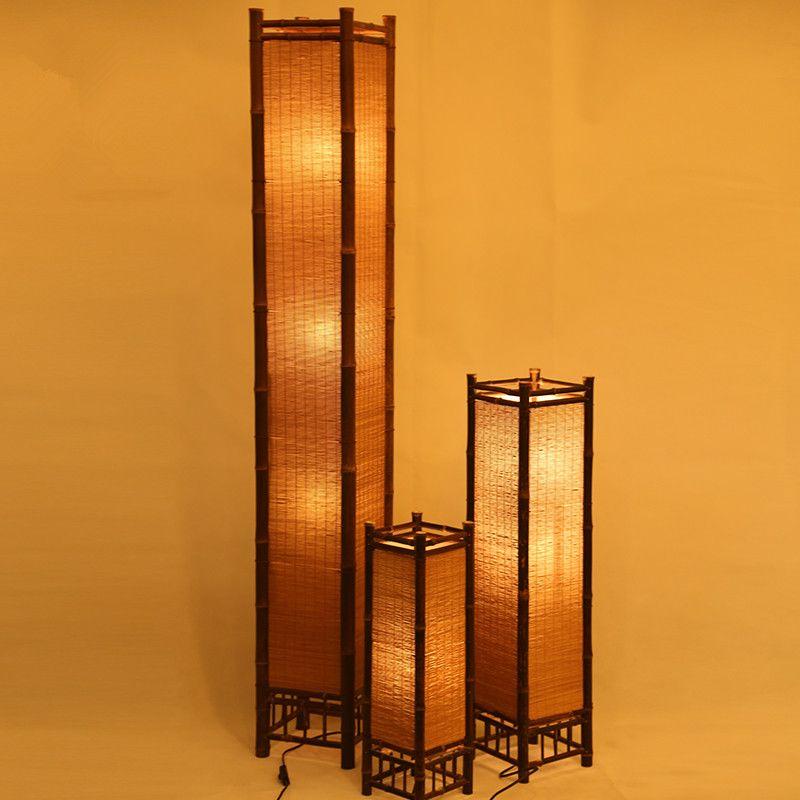 Vintage Handcraft Bamboo Floor Lamp Japan Style Bamboo Light