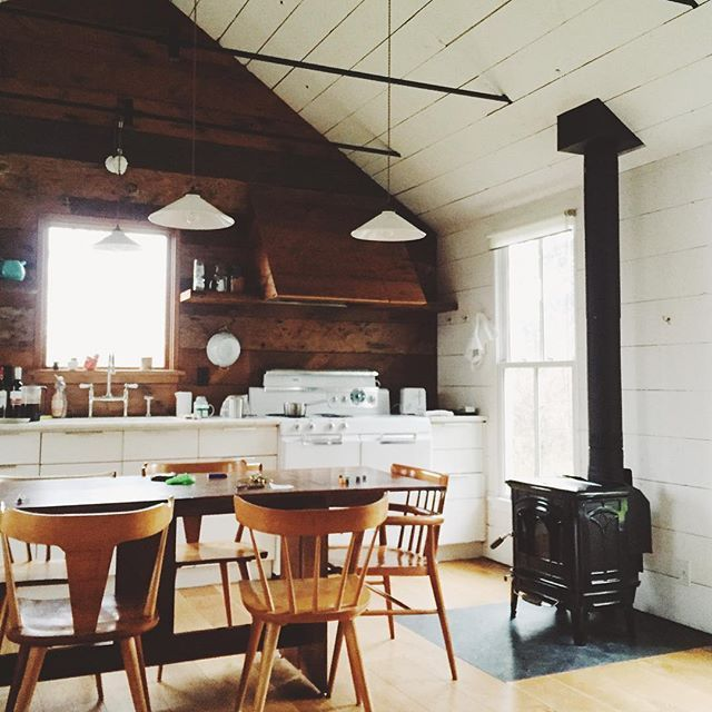 pellet stove cozy kitchen  #Regram via @emily_katz