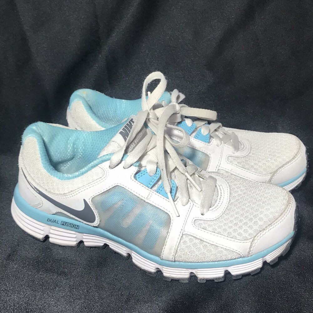 bdb0e7d0d22 Nike Dual Fusion St 2 Womens Athletic Running Shoes Size 8 White Blue