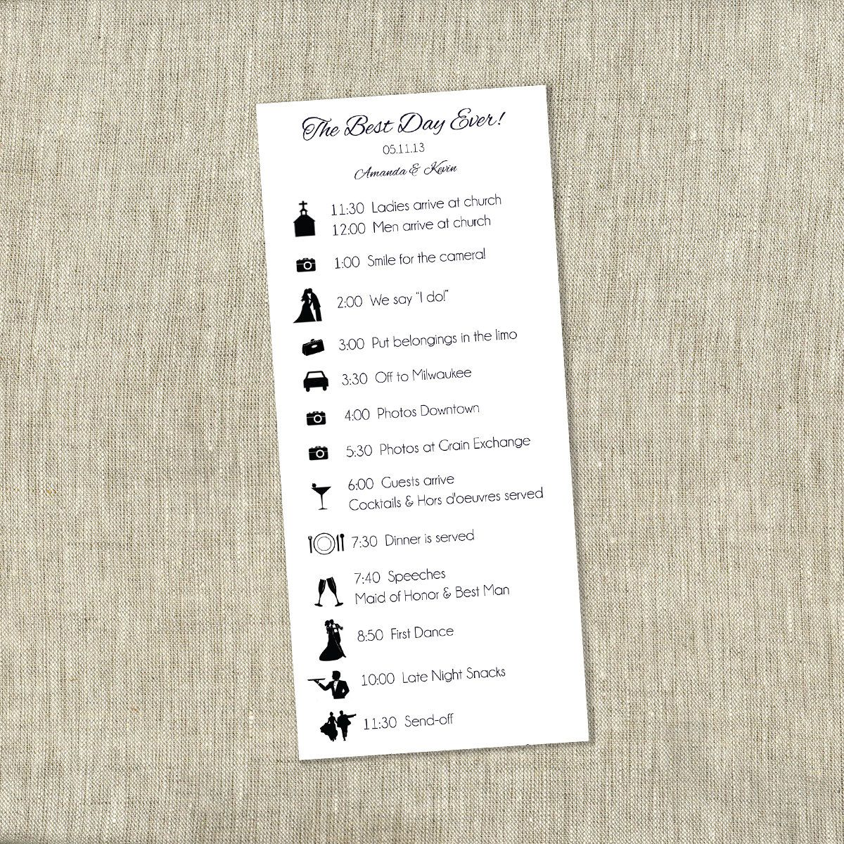 Wedding Timeline Card Wedding Bridal Party By Thechambraybunny