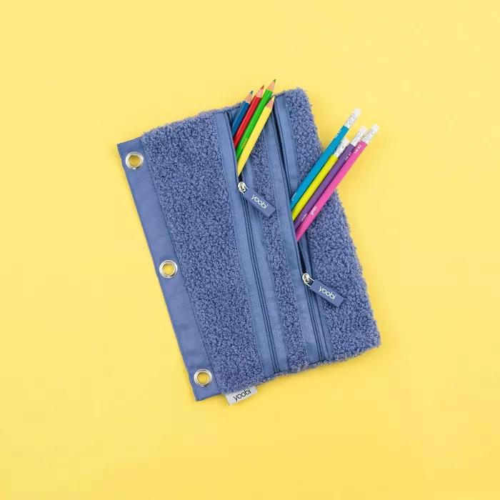 Binder Double Zip Pencil Case Fuzzy Deep Periwinkle Yoobi In 2021 Coloring Supplies Periwinkle Planner Accessories
