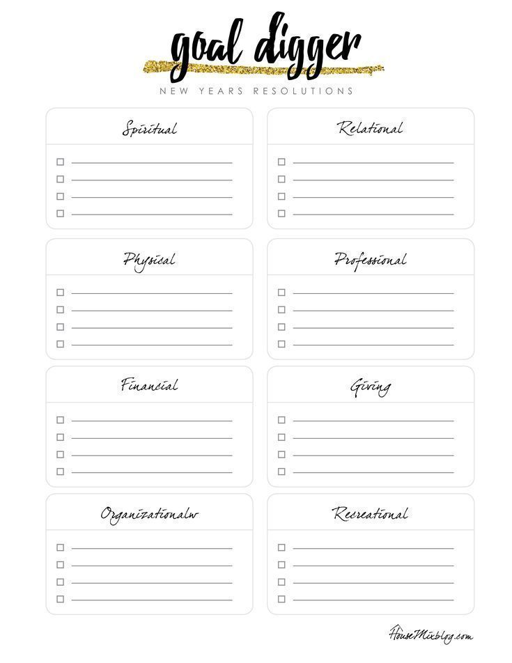 Goal digger: New Year's resolution printable