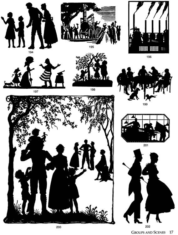 Vintage Silhouette Images From Dover Publications Clip