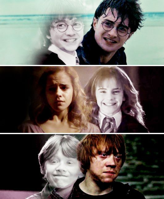 Harry Potter Photo Harry Hermione And Ron Then And Now Harry Potter Hermione Harry Hermione Ron Harry And Hermione