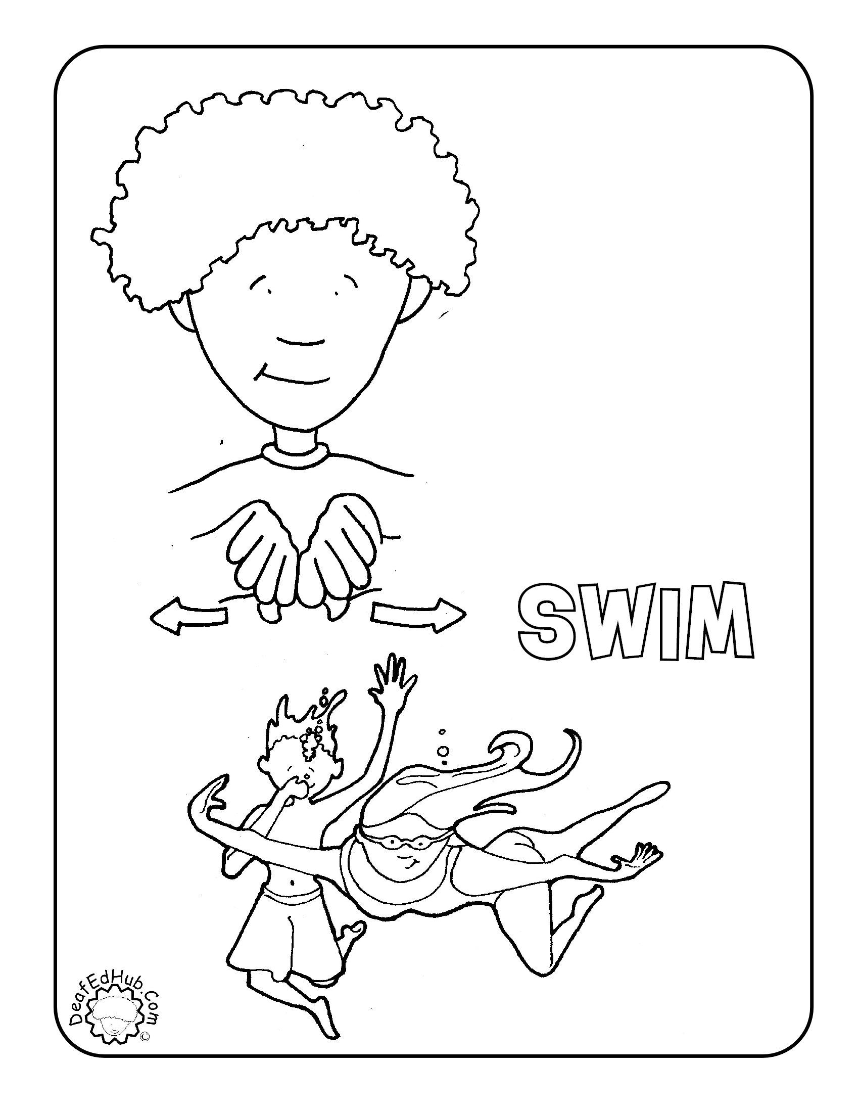 Asl Coloring Page For The Sign Swim Deafedhub