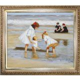 overstockArt Potthast Children Playing at the Seashore with Elegant Wood Frame Oil Painting, Champagne Finish - #art #artwork #popularartwork #paintings #homedecor -   This is a remarkable oil painting with exceptional use of color, detail and brush