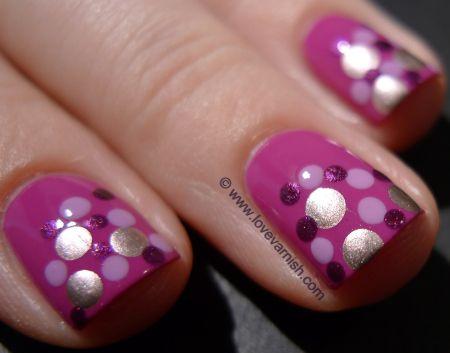 OPI Dim Sum Plum 2l + OPI Lucky Lavender + China Glaze Stella + Miss Sporty 203 (polka dot nail polish manicure)