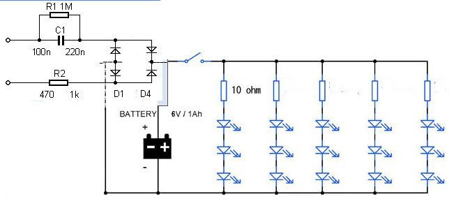 led emergency light circuit diagram without transformerled emergency light circuit diagram without transformer