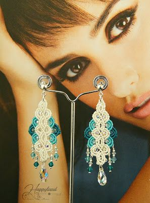 Quintero earrings , macrame and Swarovski