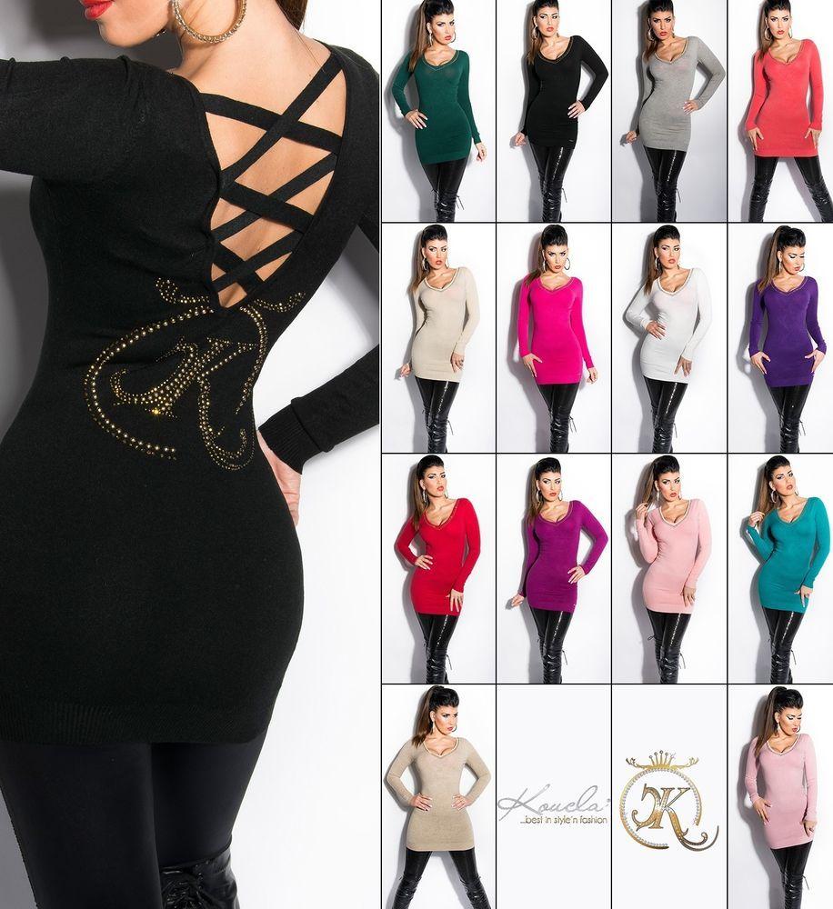 Koucla Longpullover Pullover Sweater Strickkleid mit Strass
