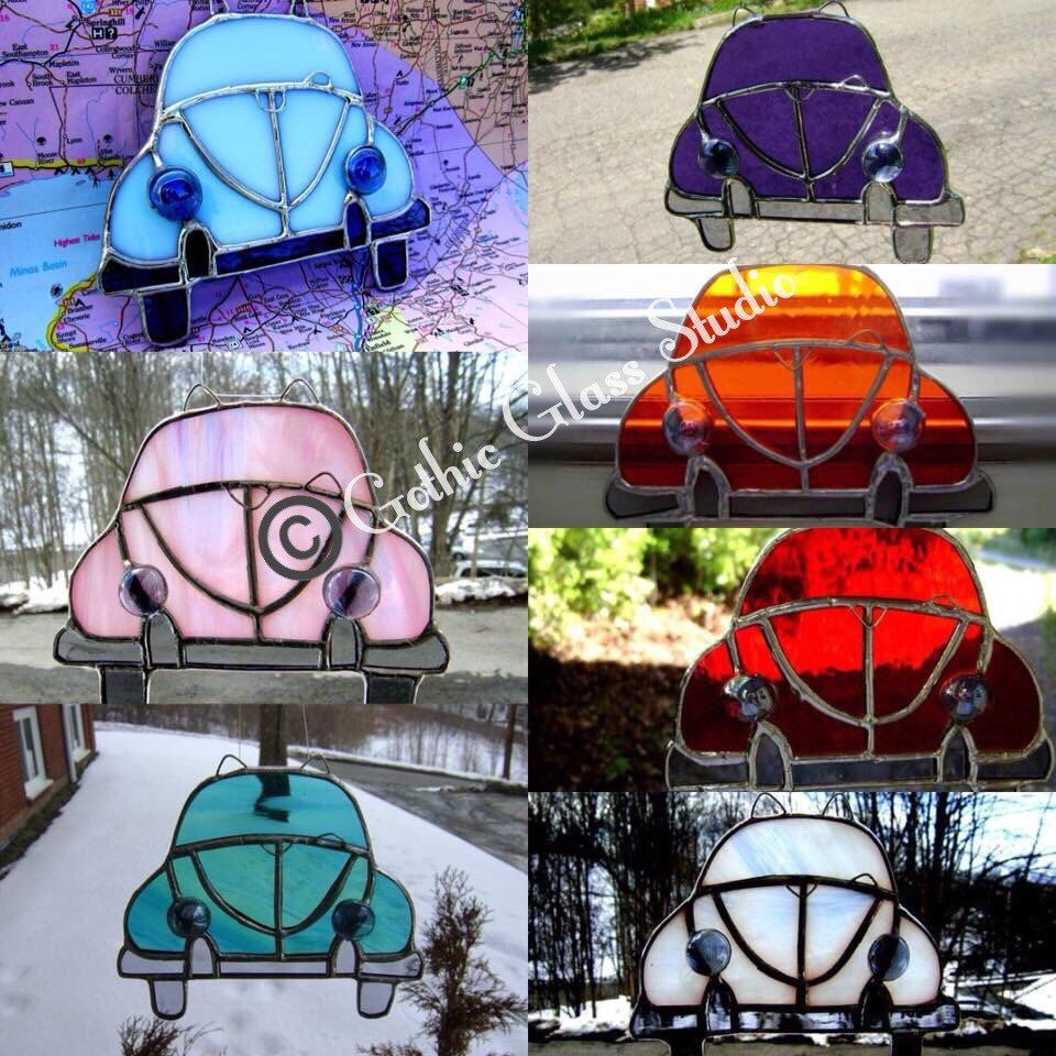 Car VW Beetle Stained Glass Suncatcher Hippie Classic Car Vintage Retro Teal Car Love Bug Father Birthday Route 66 Original Design©