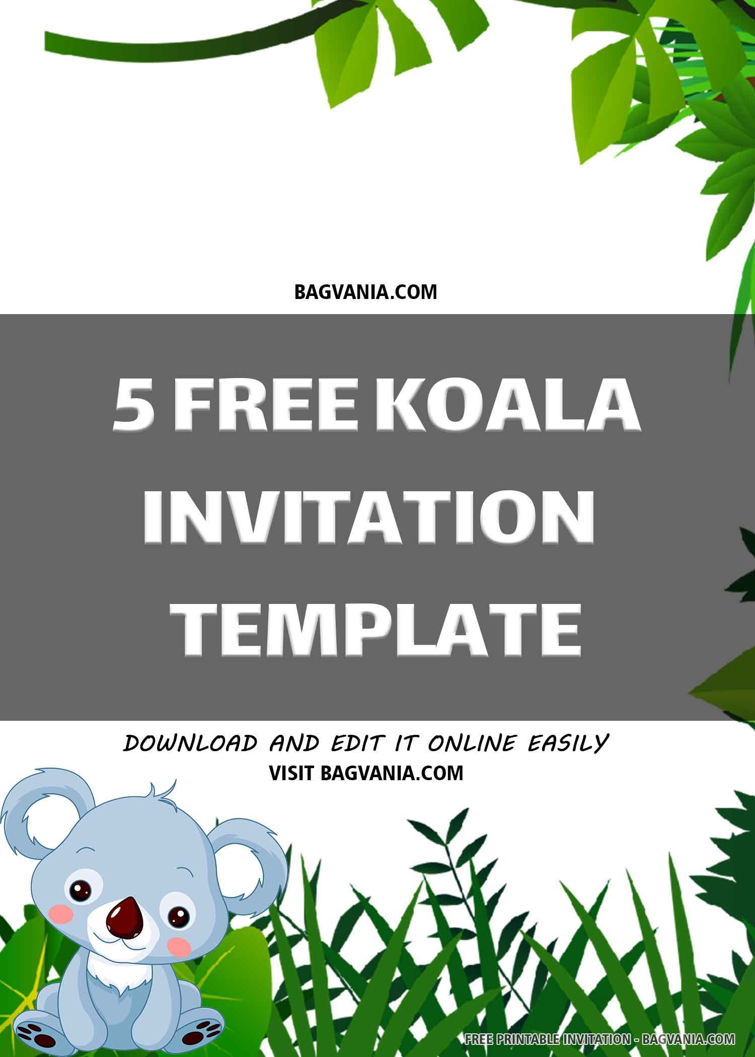 FREE PRINTABLE) – Cute Koala Birthday Invitation Template in 5