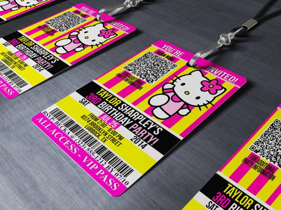 HELLO KITTY Inspired VIP Lanyard Invitations by BeetleBummDesigns