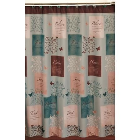 butterfly blessings shower curtain and hook set | walmart