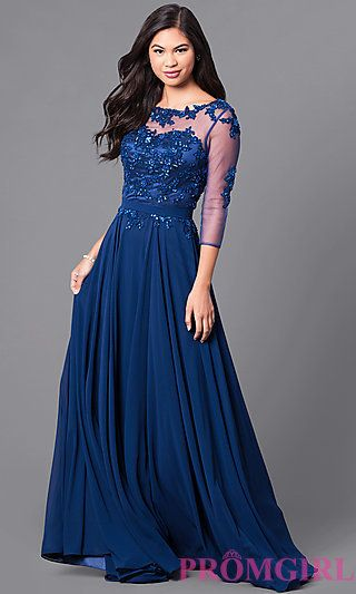 6ecad49d156 Lace-Applique Long Prom Dress with Sheer 3 4 Sleeves in 2019 ...