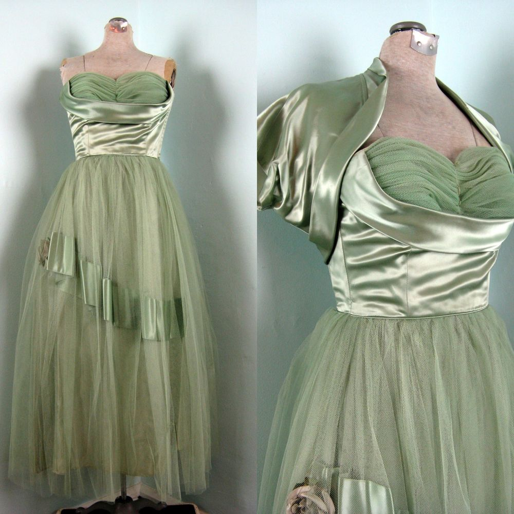 Vintage s s green tulle netting u satin prom dress with jacket