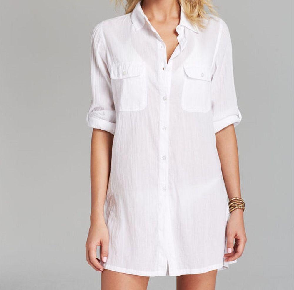 Ralph lauren swim cover up sz m white button down cotton for Beach shirt cover up