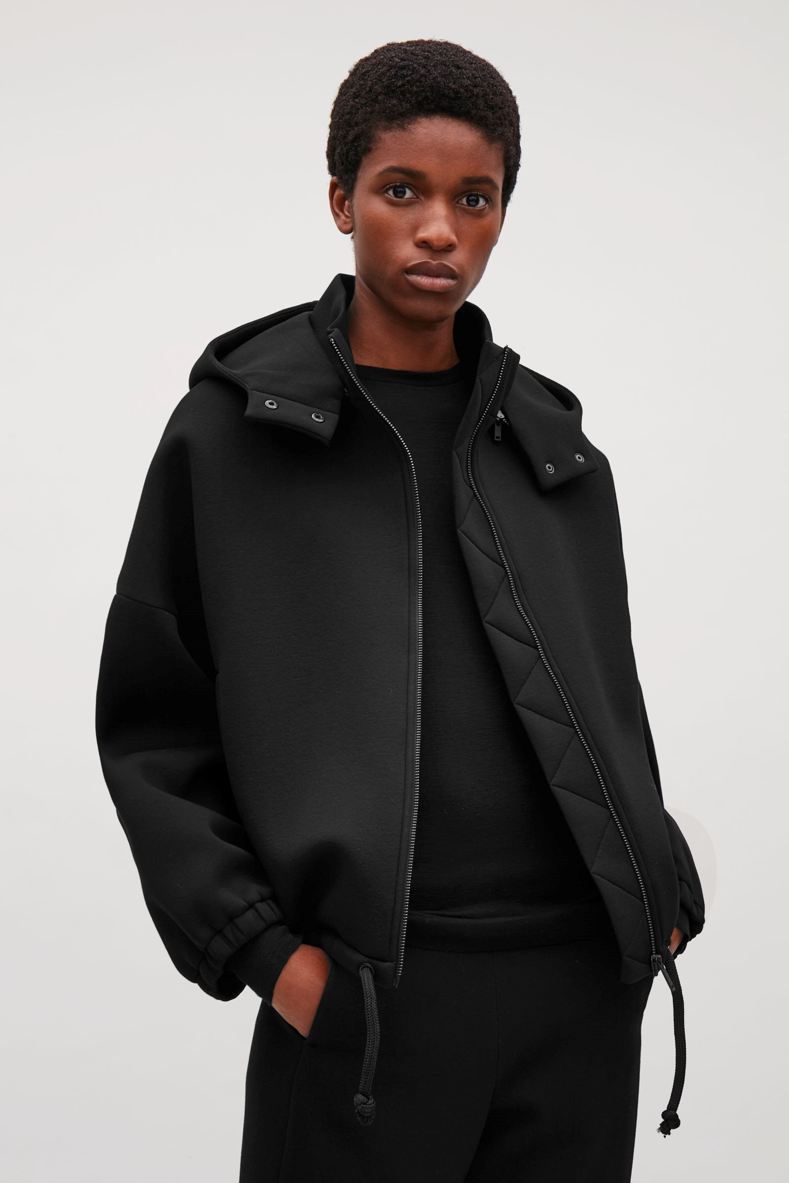 COS image 5 of Short scuba jacket with hood in Black