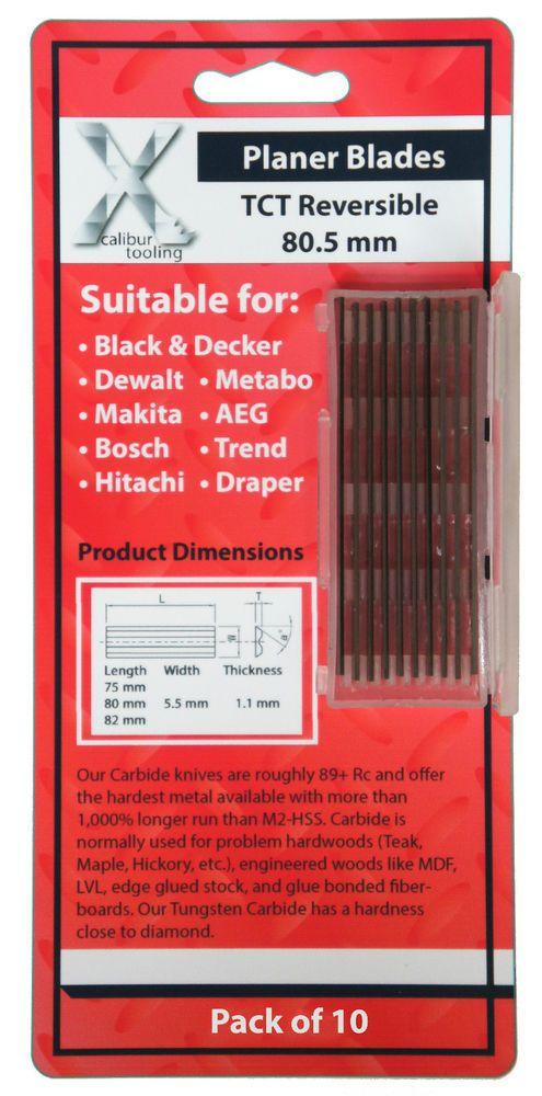 10 Pcs 80.5mm x 5.5 x 1.1mm planer blades makita, bosch dewalt black & decker .