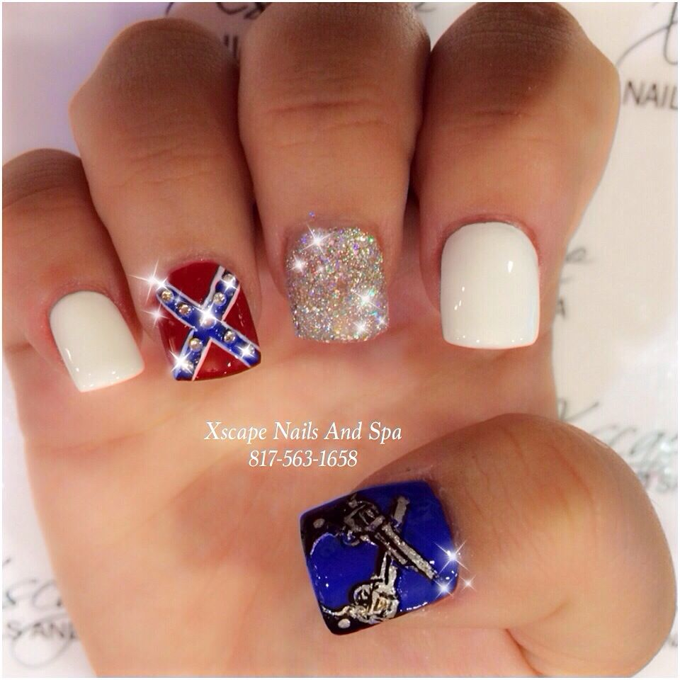 Confederate flag nail design - Confederate Flag Nail Design Cute Nails Designs Pinterest