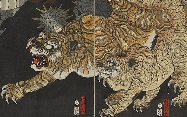 The Tiger and Dragon, Triptych, Woodblock print made by Gounjei Sadahide (w.1820-80) The Tiger in Asian Art is at Asia House, London W1G 7LP (asiahouse.org ) 5 November 2010 – 12 February 2011