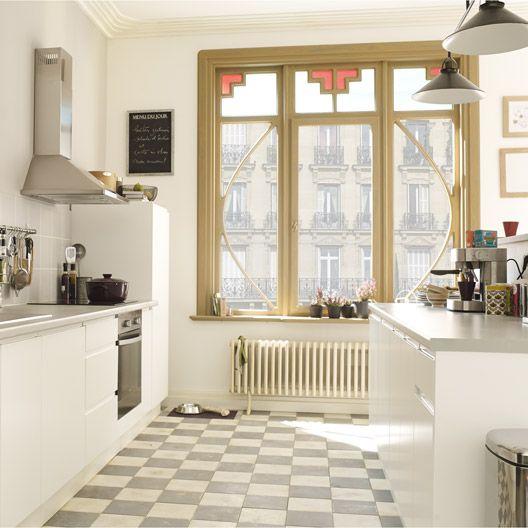 Meuble de cuisine blanc DELINIA composition type Graphic#cuisine - couleur cuisine avec carrelage beige