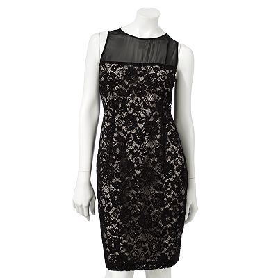 Want something a little dressier, but not over the top for your interview? Lace does the trick in this sheath dress. The seaming where the mesh panel joins the lace is a good disguise for an overly full bust. A top heavy hourglass figure would ROCK this dress. Jennifer Lopez Lace Sheath Dress