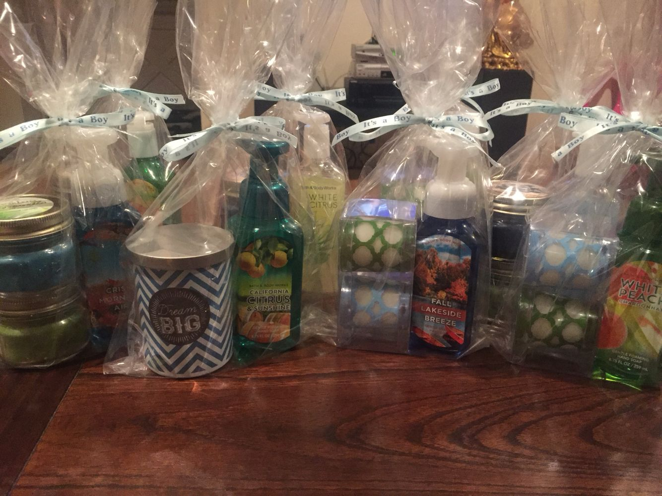Prizes For Baby Showers ~ Boy baby shower game prizes mason jar candles hand soaps