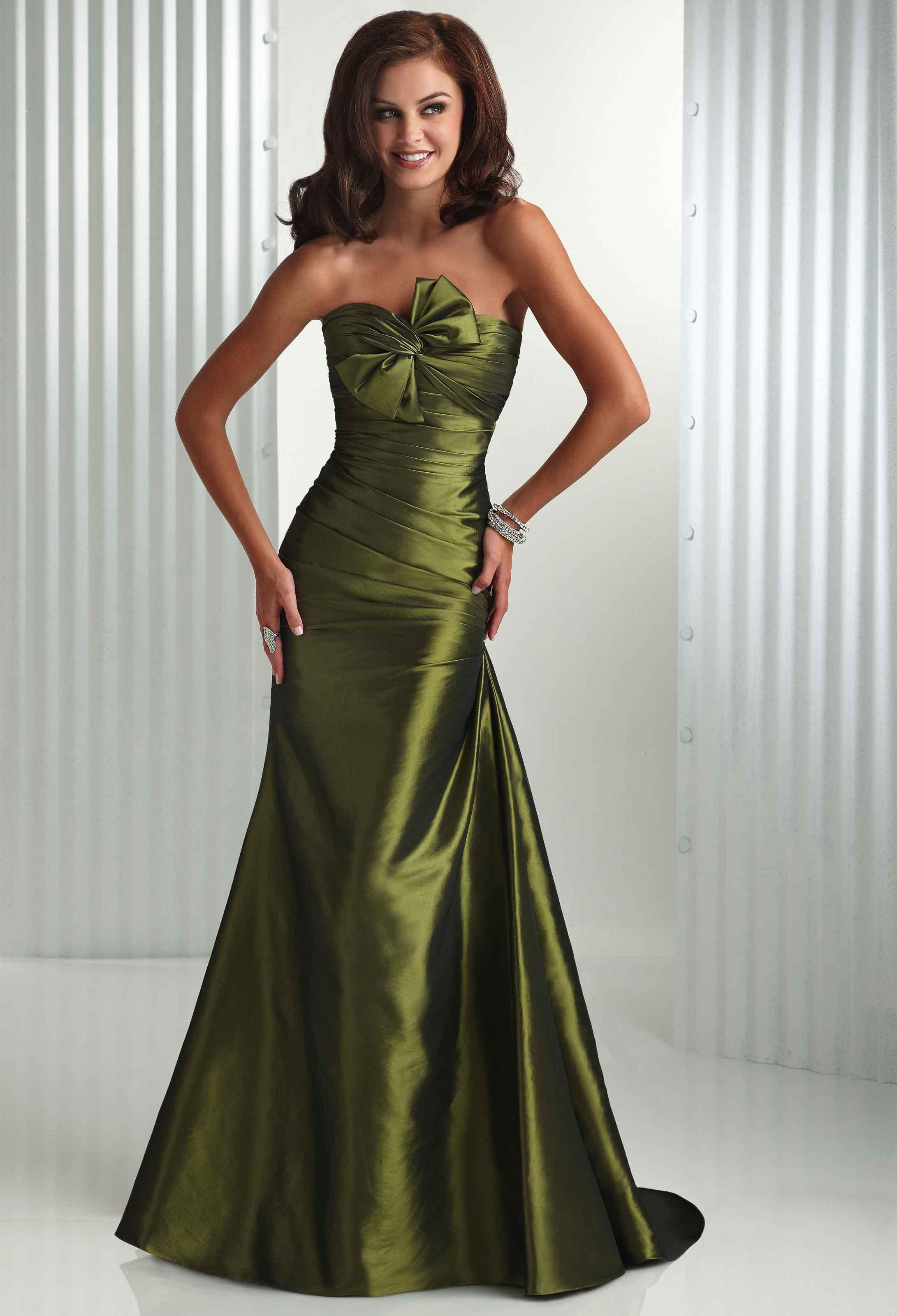 Buy Olive green trumpet oblique bowknot at bust evening dress prom dress  Online Cheap Prices 2a98bbc0cd80