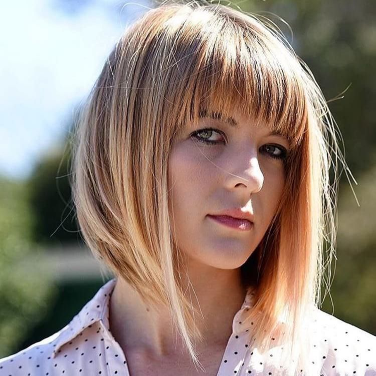 How To Hairstyle Tutorial Long A Line Bob With Brow Skimming Fringe Bangs And