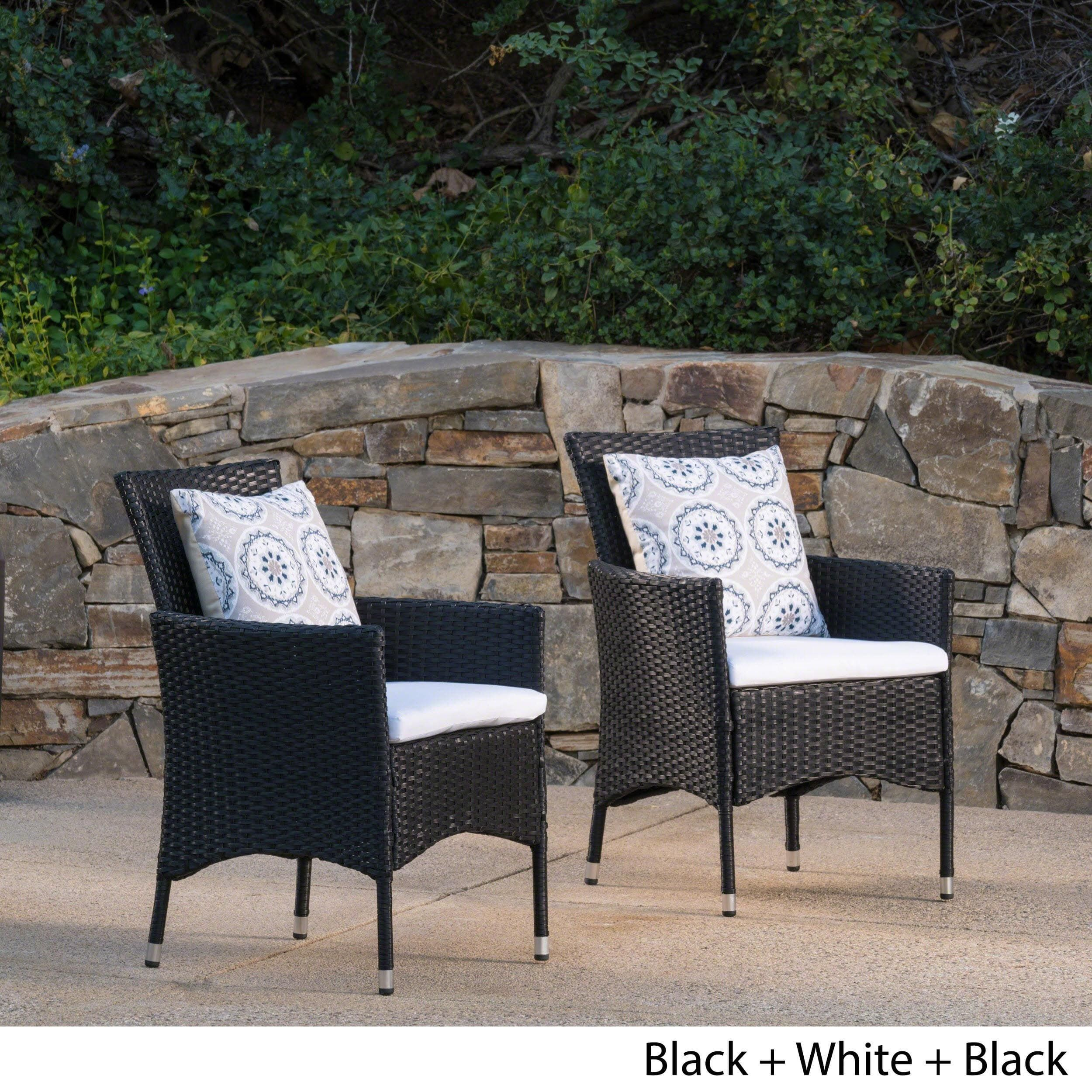 black wicker dining chairs. Malta Outdoor Wicker Dining Chair With Cushion By Christopher Knight Home ( Set Of 2) (Black + White Cushion), Patio Furniture Black Chairs N